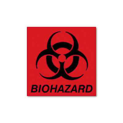 Rubbermaid Commercial Biohazard Decal, 5-3/4 x 6,
