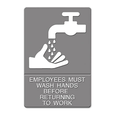 "Headline Sign ADA Sign, ""Employees Must Wash Hands"""