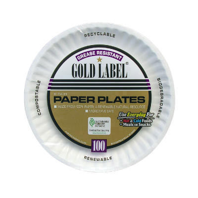 AJM Packaging Corporation Uncoated Paper Plates, 6