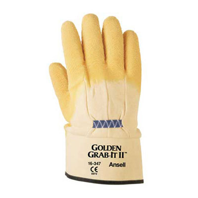 AnsellPro Golden Grab-It II Heavy-Duty Work Gloves, Size
