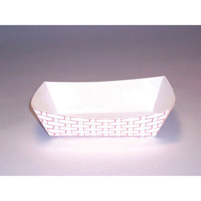 Boardwalk Paper Food Baskets, 2.5lb Capacity, Red/White