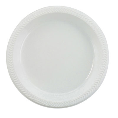 Boardwalk Plastic Plates, 6 Inches, White, Round, 125/Pack