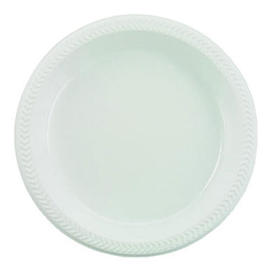 Boardwalk Plastic Plates, 9 Inches, White, Round, 125/Pack