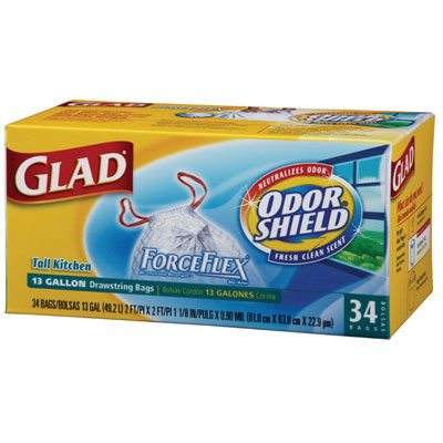 Glad ForceFlex OdorShield Bags, 13 gal, 24 x 28, White,