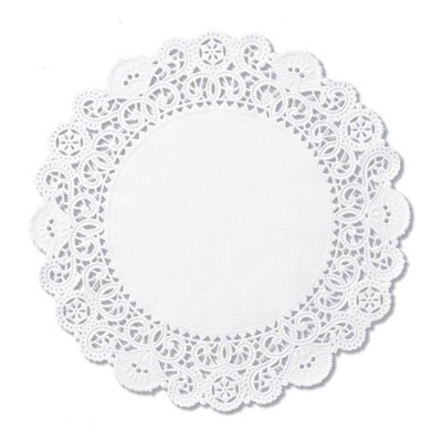 "Hoffmaster Brooklace Lace Doilies, Round, 6"", White"
