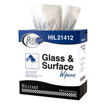 Hillyard Wiper Glass & Surface Wht 175Bx 4/CS