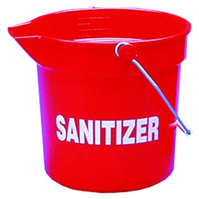 Impact Deluxe Heavy-Duty Sanitizer Bucket, 10 qt, Red,