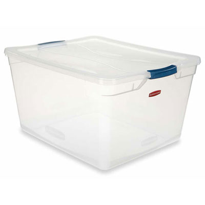 Rubbermaid Clever Store Basic Latch Container, 3.75gal,