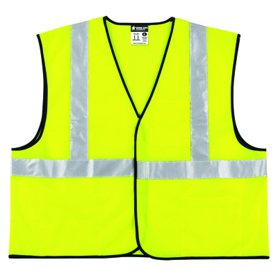MCR Safety Class 2 Safety Vest, Lime Green w/Silver