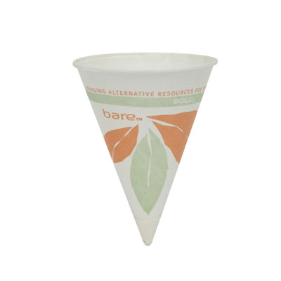 SOLO Cup Company Bare Treated Paper Cone Water Cups, 4 1/4