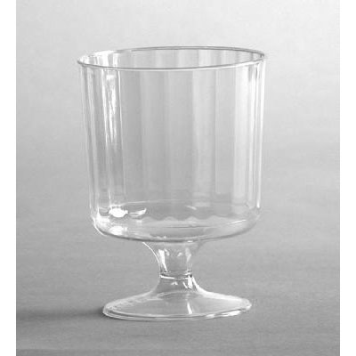 WNA Classic Crystal Plastic Wine Glasses on Pedestals, 5